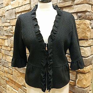 Anthropologie Elegant Ruffle Trimmed Black Jacket